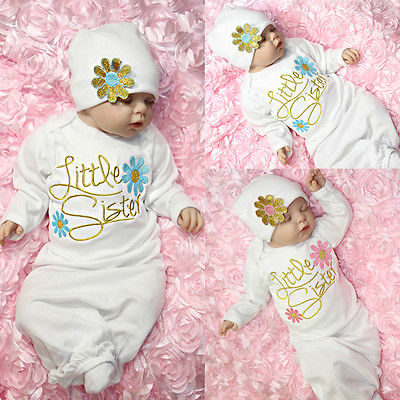 2pcs Newborn Toddler Infant Baby Girl Coming Home Outfit