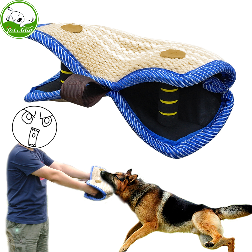 Young Dog Training 2 Handle Bite Wedge Bite Sleeve Grip Builder Tug Pet Toy Puppy Bite
