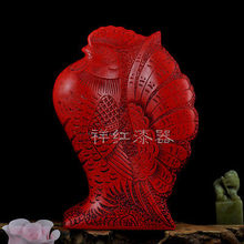 Chinese old Carved Flower Red Cinnabar Lacquer rooster statue