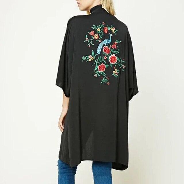 2017 Vintage Fashion Women Back Embroidery Kimono Long Shawl Poncho Black Loose cardigan Plus Size JFWM8728
