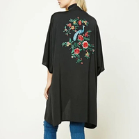 2017 Fashion Women Back Embroidery Kimono Long Shawl Poncho Black Loose Cardigan Plus Size JFWM8728