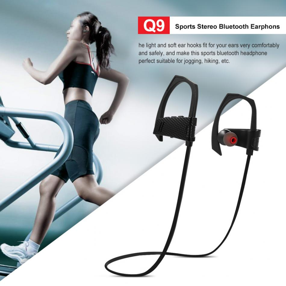 Q9 Sports Bluetooth Headset Sweatproof Sports Stereo Bluetooth Earphones for iPhone Android