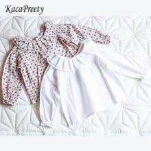 Белая/бежевая блузка с цветочным рисунком для маленьких девочек хлопковая Детская рубашка с длинными рукавами боди для новорожденных, одежда топы для малышей