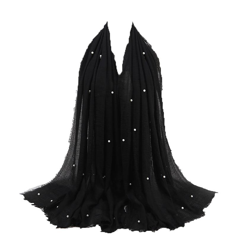 16 Colors 190*100cm Plain Jersey with Beads   Scarf     Wrap   Cotton Elasticity Shawls Maxi Hijab Pearl Muslim Headband Foulards Sjaal