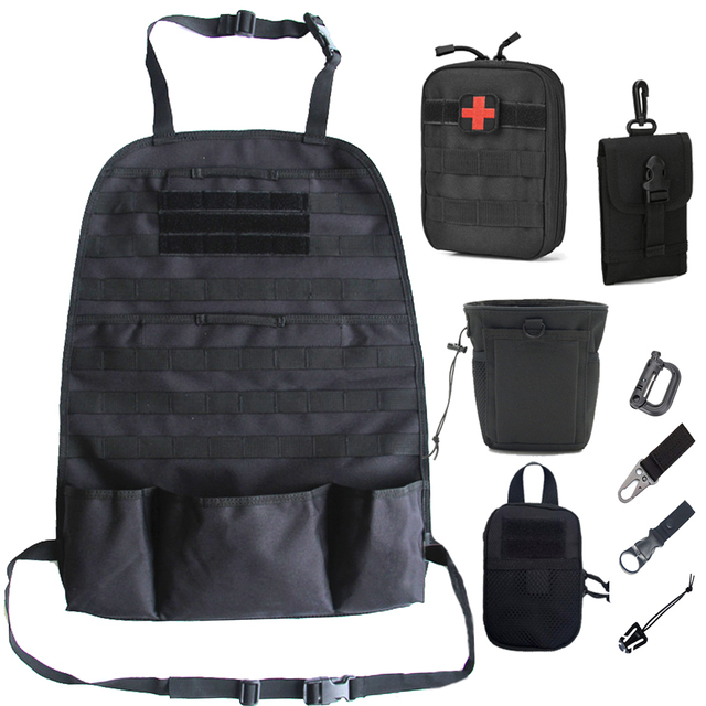 Car Back Seat Organizer Molle Tactical Bag Sports Accessories Storage Pockets Military Outdoor Self-driving Tour Seat Cover Bag