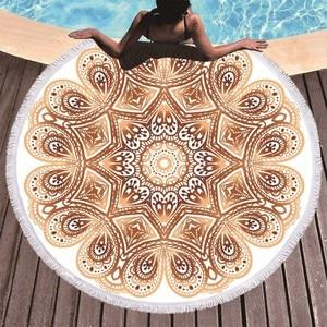 Image 3 - ボヘミアン曼荼羅ラウンドビーチタオルタッセル大人マイクロファイバータオルソフト吸収夏水泳スポーツバスタオルナプキンプラージュ