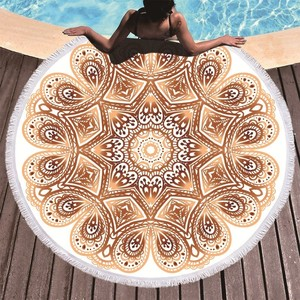 Image 3 - Bohemian Mandala Round Beach Towel Tassel Adult Microfiber Towel Soft Absorbent Summer Swimming Sport Bath Towel Serviette Plage