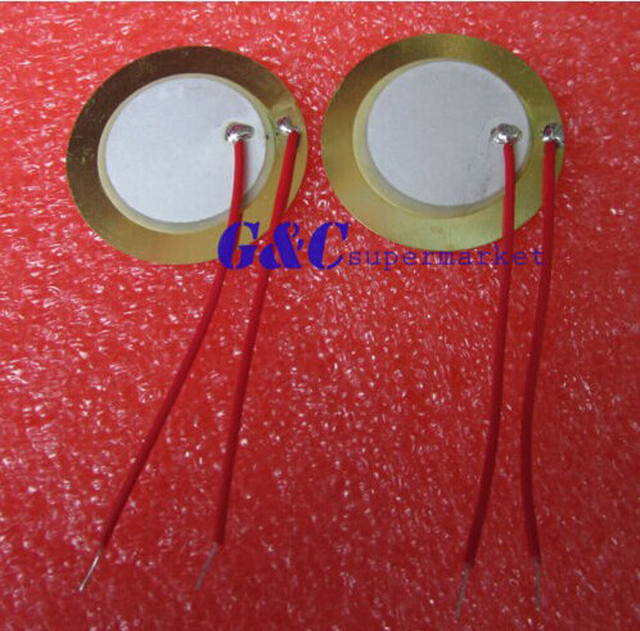20PCS 27mm Piezo Elements Sounder Sensor Trigger Drum Disc + wire copper