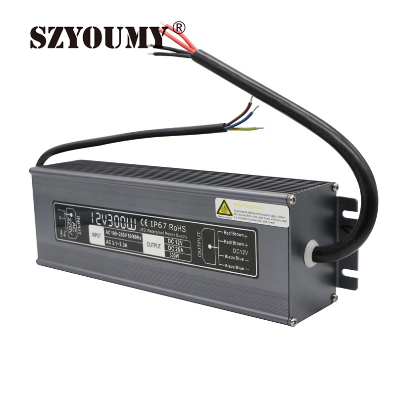 SZYOUMY 1pcs 12V 300W Switching Led Driver Power Supply Transformer Waterproof IP67 AC 190-250V Current 25A
