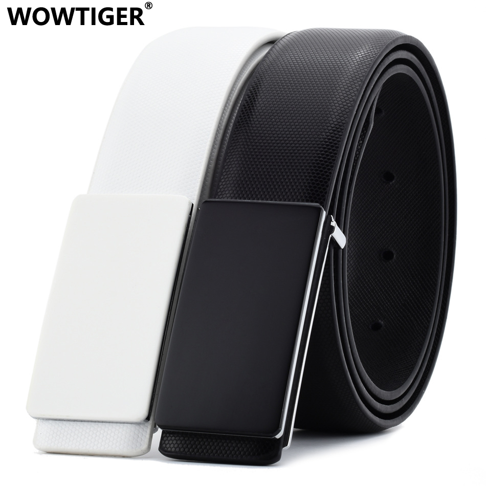 WOWTIGER Black White Cowhide Genuine Leather 3.3cm width   belts   for men Strap male Smooth buckle Luxury Brand Designer   belt