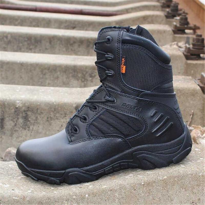 16aedb678 Для мужчин Delta военные тактические сапоги треккинговые ботинки  непромокаемые Путешествия обувь Commando Зима Открытый кожа теплые