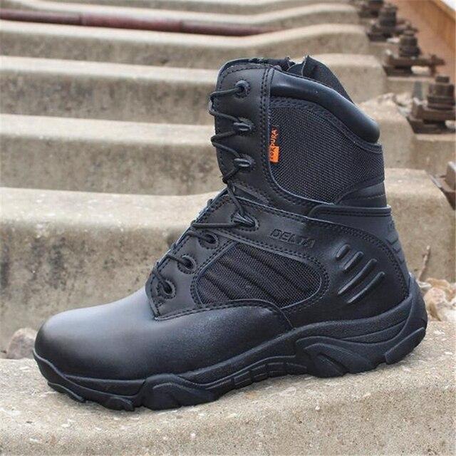 Erkekler Delta askeri taktik botları yürüyüş ayakkabıları Su Geçirmez seyahat ayakkabısı Komando Kış Açık Deri Sıcak Erkek botları