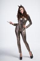Yuerlian Cat Costume Sexy Costume Leopard Animal Cosplay Woman Halloween Catwomen Leotards Sexy Costume Catsuit Jumpsuit