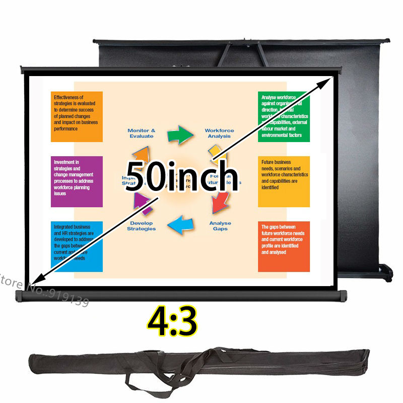 Professional Table Desk Projection Screen 50inch 4:3 Format With Carry Bag Best For Business PresentationProfessional Table Desk Projection Screen 50inch 4:3 Format With Carry Bag Best For Business Presentation