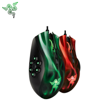Razer NAGA HEX MOBA 5600dpi Game Mouse 11 Bottons USB Laser Gaming Mice Support Official Verification for Pro Gamer Green/Red