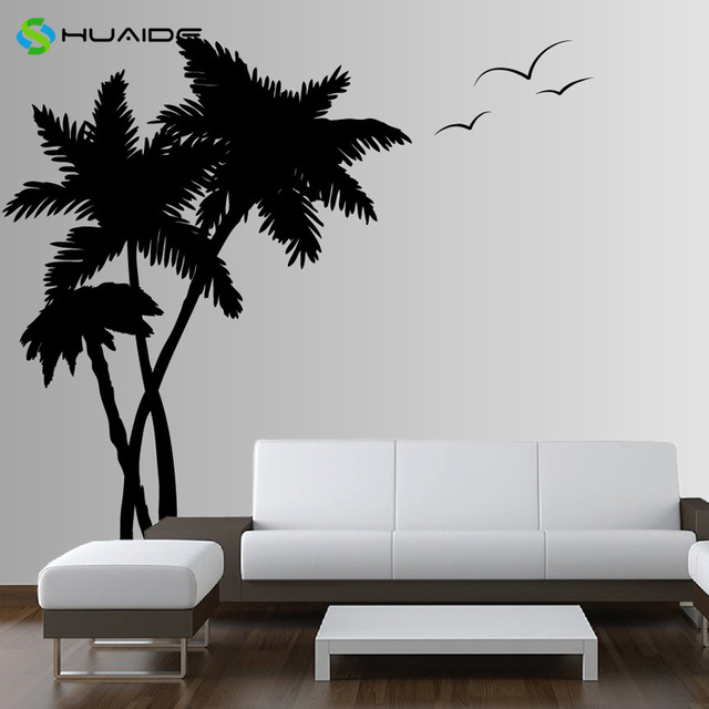84inch Huge Palm Coconut Tree Wall Decal With Seagull Bird Living Room  Bedroom Wall Art Mural