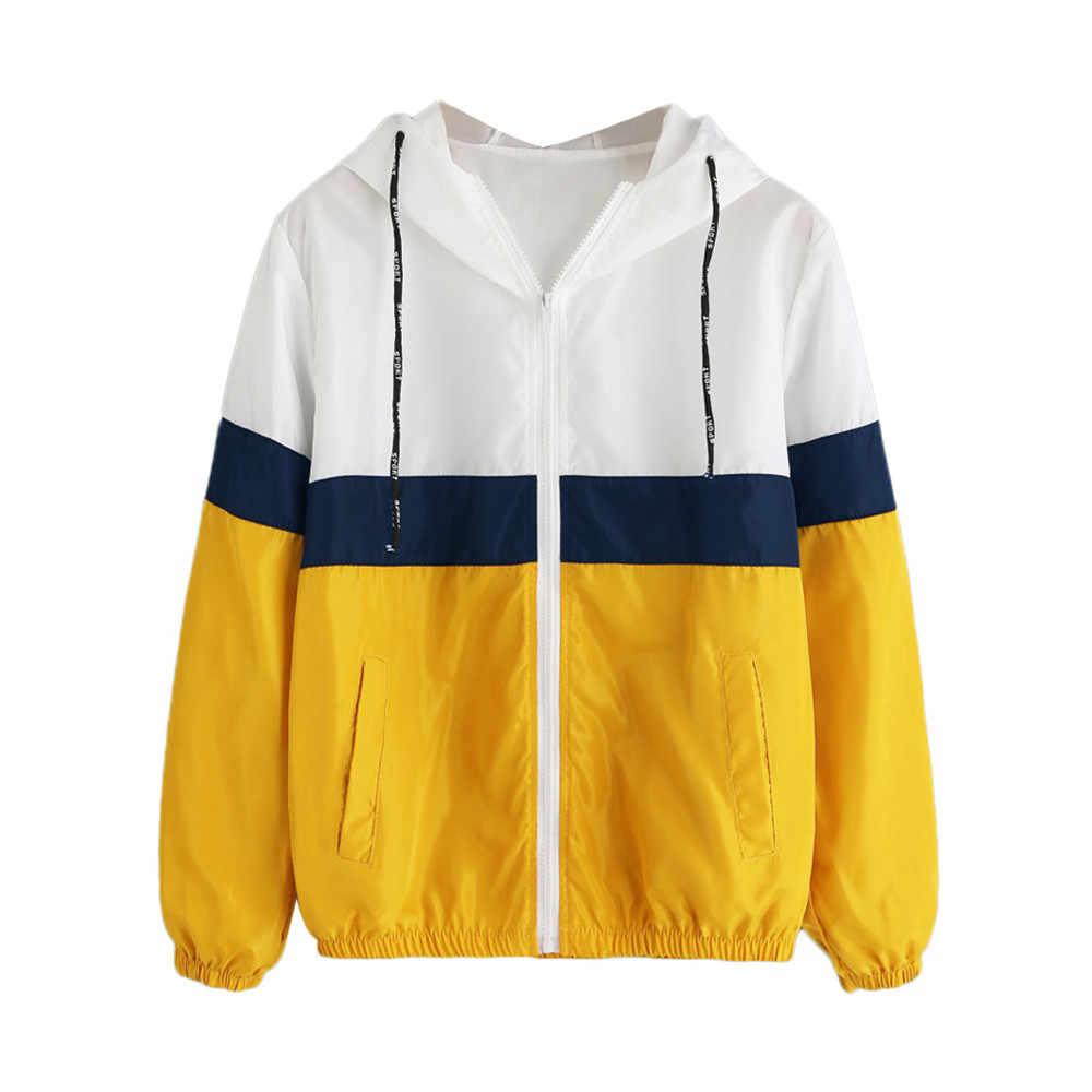 Тонкая куртка женская весна лето с капюшоном молния повседневная спортивная куртка Лоскутная тонкая chaquetas mujer d90711