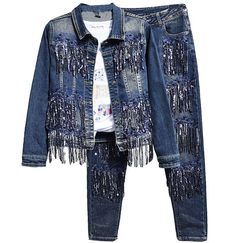 Kralen Lovertjes Vrouwelijke Denim Fashion vrouwen Sets Lange Mouwen Denim Jassen + Slim Potlood Jeans Vrouwelijke Suits-in Sets voor dames van Dames Kleding op  Groep 1