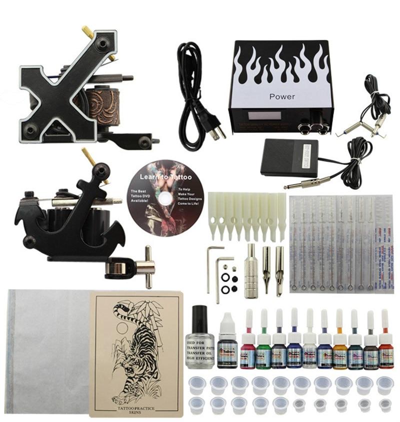 Kit De Tatouage professionnel 2 Pistolets Machines 10 Sets D'encres Alimentation 220 v