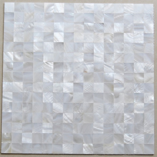 Mother Of Pearl Tile Mirror Wall Decor Mesh Mounted 4 5 Inch Squared White Kitchen