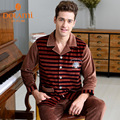 Winter Warm Mens Lounge Pajamas Long Sleeve Coral Fleece Male Sleepwear Casual Striped Home Suit Thermal Nightwear