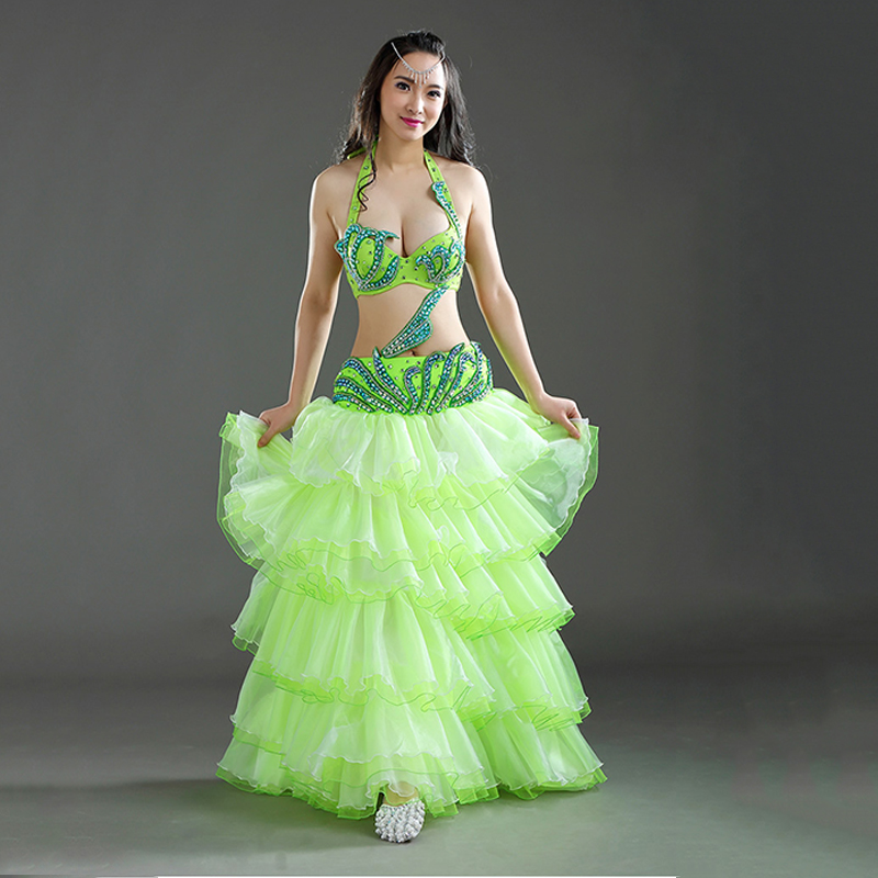 Lady women Adult Professional Belly Dance Costumes Set Stage Performance Bellydance Beaded Bra Wave Skirt Egypt Bellydancing