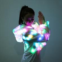 The new Christmas LED light costume plush coat jacket winter light section short bar night