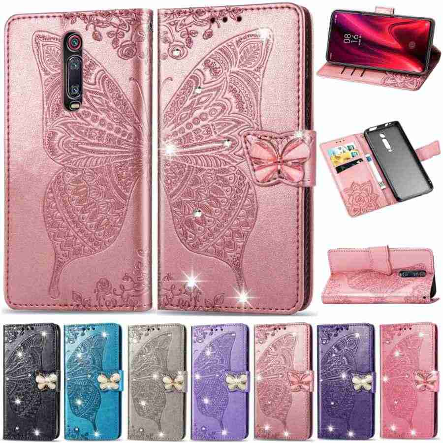 For Redmi Note 7 K20 Pro Glitter Bling 3D Butterfly Embossing PU Leather Wallet Case For Redmi 7 6 6A 6 Pro Flip Holder Cover