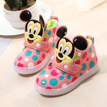 2017 Fashion Children Shoes With Flash Light Boys Shoes Autumn Winter Breathable