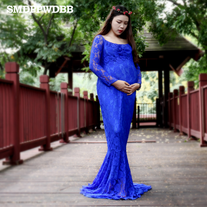 SMDPPWDBB Lace Maternity Dresses Maternity Photography Props Maternity Dresses For Photo Shoot Blue Party Plus Size Party Dress