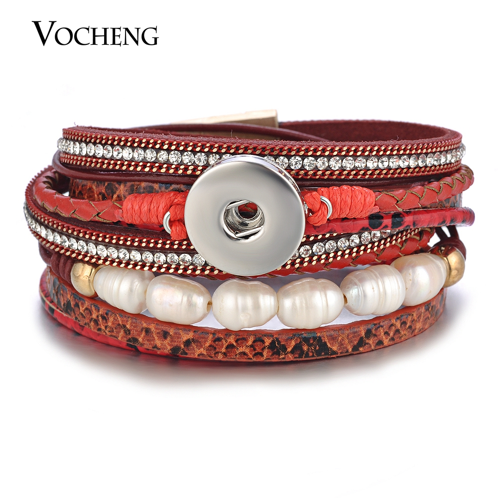 10pcs lot Vocheng Snap Charms Bracelet Leather Multilayer with Pearl Crystal Magnet Clasp for 18mm Button