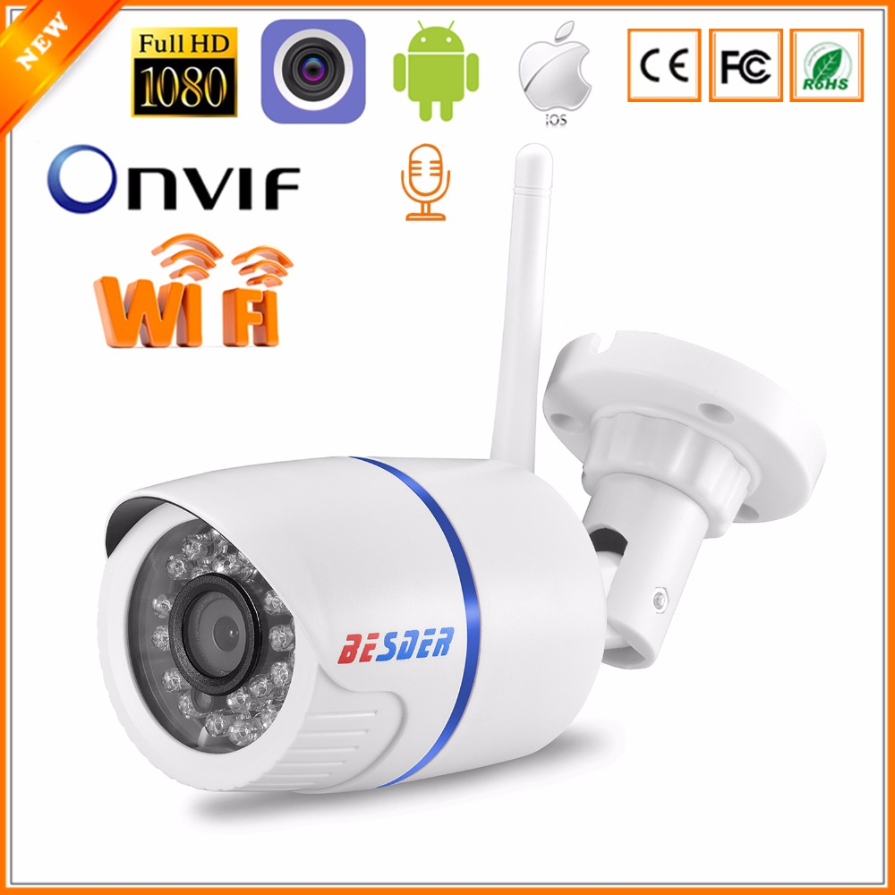 BESDER Audio 720P 1080P Wifi Ip CCTV Outdoor Camera Surveillance White Waterptoof Onvif Wireless Camera With SD Card Slot CamHi-in Surveillance Cameras from Security & Protection