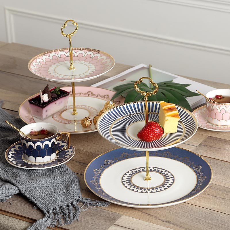 Скандинавский стиль двухслойная подставка для торта керамическая столовая посуда из китайского фарфора фруктовый торт десертная тарелка ... - 4