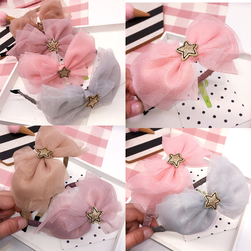 Korea Hair Accessories lovely Star Flower Crown Hair Band Cotton Headband For Girls Hair Bow Princess 4