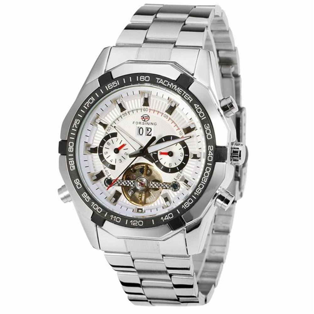 Forsining Tourbillion Watch Date Calendar Display Automatic Mechanical Sport Military Silver Stainless Steel Mens Wrist Watches цена