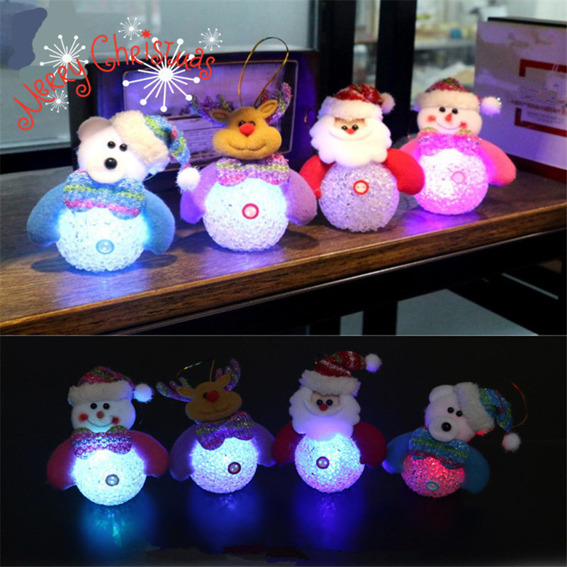 Christmas Decorations For Home Christmas Tree Ornaments Luminous Santa Claus/Snowman Doll Navidad EVA New Year's Kids Gifts