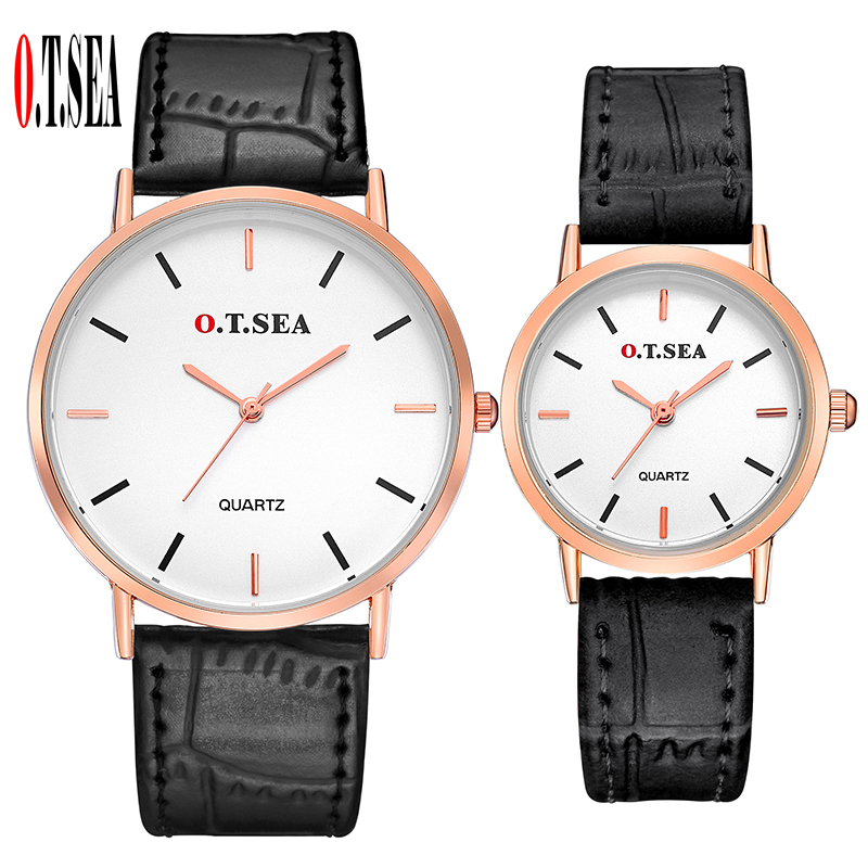 New O.T.SEA Brand Leather Pair Watches Women Men Lover Couple Fashion Casual Dress Quartz Wristwatches Clock 6688-5
