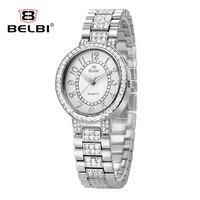 Высокое качество Relogio feminino Топ люкс Ретро в римском стиле платье женщины сплав кварцевые часы алмаз дизайн золотой часы Марка belbi