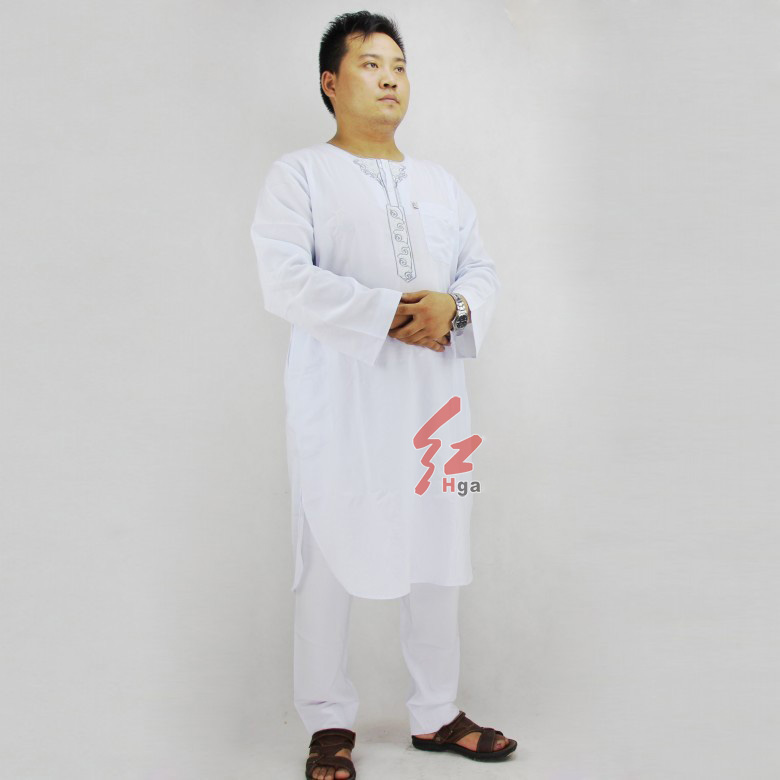 White Muslim gowns men Abaya jubbah kaftan Man Thobe robes sets Islam clothing Muslims wholesalers Kebaya Muslim Islamic