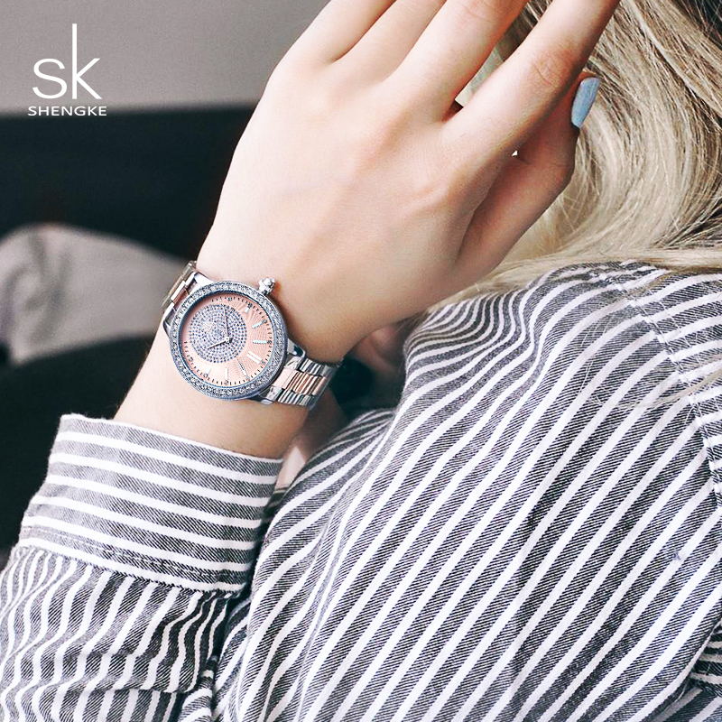Shengke Quartz Watch Women Brand Ladies Silver Bracelet Watches Relogio Feminino 2019 SK Luxury Crystal Dial Watches For Women