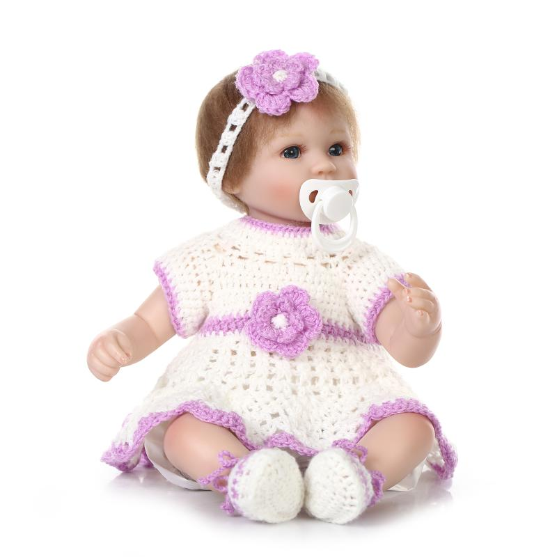 Nicery 16-18inch 40-45cm Bebe Doll Reborn Soft Silicone Boy Girl Toy Reborn Baby Doll Gift for Children Purple White Sweater Nicery 16-18inch 40-45cm Bebe Doll Reborn Soft Silicone Boy Girl Toy Reborn Baby Doll Gift for Children Purple White Sweater