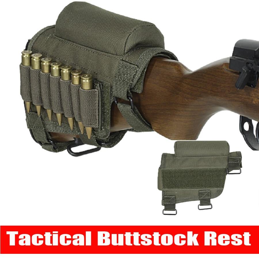 Accesorios de pistola de caza Rifle ajustable escopeta táctico Buttstock Cheek descanso Shooting Pad munición funda cartuchos soporte bolsa