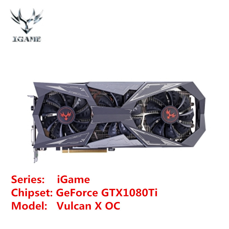 Colorful IGame GeForce GTX1080Ti Vulcan X OC Video Graphics Card 11G GDDR5X 1620MHz 16nm 352bit With