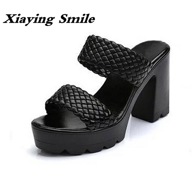 Xiaying Smile Women Sandals Platform High Square Heels Pumps Summer Fashion Slides Slippers Casual Ladies Concise Style Shoes xiaying smile summer woman sandals fashion women pumps square cover heel buckle strap fashion casual concise student women shoes