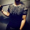 2016 Verano Nueva Impresión de la Camiseta de Los Hombres de Alta Calidad Camisetas de Algodón Camisetas Delgadas de la Ropa de la Marca O-cuello de la Camiseta de Los Hombres