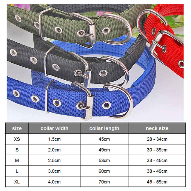 4.0*60cm Length  Comfortable Adjustable Nylon Strap Dog Collar For Small And Big Pet Dogs Collars 4 Color Red/Bule/Black/Green 5