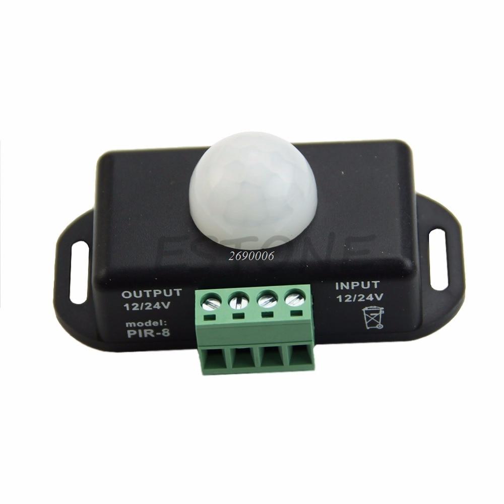 Body Infrared PIR Motion Sensor Switch DC 12V/24V For LED Light Strip Automatic automatic dc 12v 24v 8a infrared pir movement sensor switch for led light
