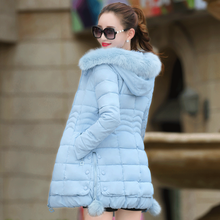 High Quality Fashion Slim Women Jackets Fur Collar Hooded Winter Warm Female Outwear Patchwork Thermal Thick Coat Parkas MY0138
