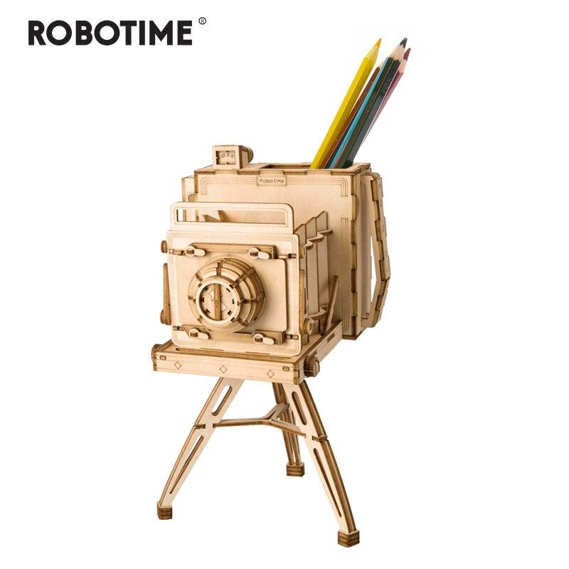 Robotime DIY 3D Wooden Vintage Camera Puzzle Game Penholder&Gift For Children Kid Friend  Popular Toy TG403