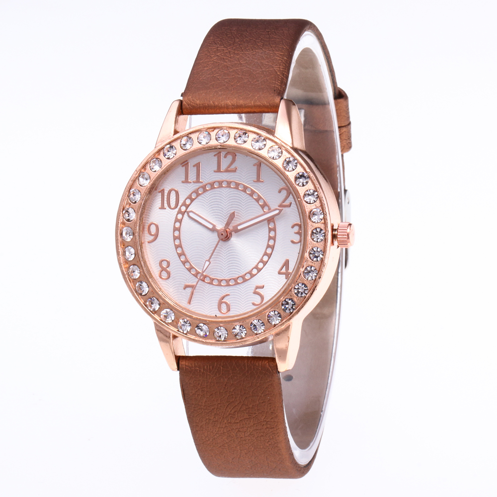 Women watches Leather Quartz Watch 2019 Fashion Simple Rhinestone Dress women's Watch Women Clock Hours ladies zegarek